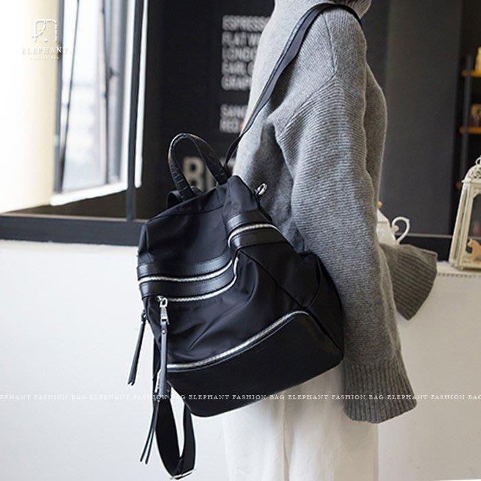 【艾樂芬】韓國 多隔層 3WAY 鱷魚紋 皮革 拼接尼龍 拉鍊 防潑水 手提包 運動包 單肩包 側背包 後揹包 水桶包