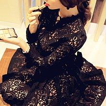 〔靚衫〕新款潮蕾絲鏤空挑高優雅大擺長袖洋裝.禮服裙(黑3905)現貨S.M.L當日出貨
