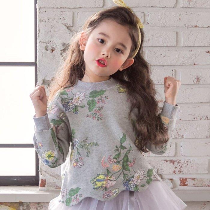【小阿霏】兒童長袖棉T 女童下擺波浪花朵上衣 春秋造型T恤  2-10歲尺碼CL168