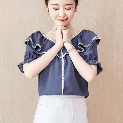 短袖襯衫設計感女輕熟V領顯瘦2019超仙雪紡襯衣氣質百搭上衣RJ870
