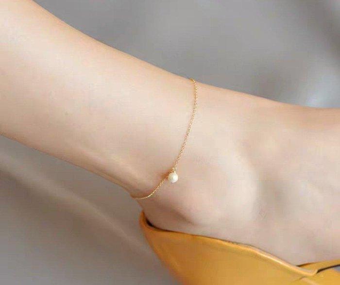 CN 簡約手工訂製天然淡水珍珠美國14K包金腳鏈