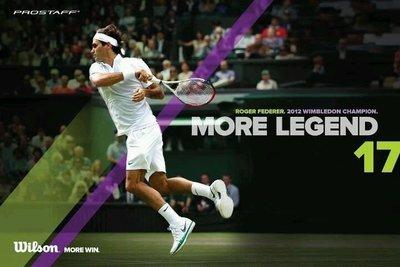 總統網球 (自取可刷國旅卡) ROGER FEDERER 2012 溫網 冠軍 海報 大滿貫17勝  (費迷請把握機會)