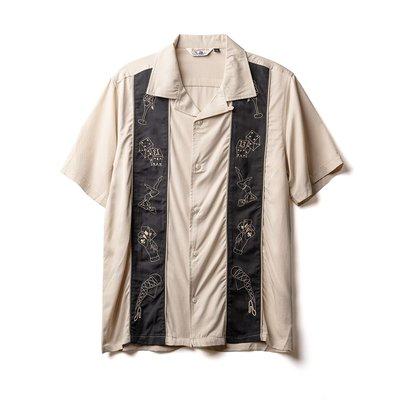 【RETRODANDY】Cuba's Ruin 古巴領刺繡保齡球襯衫(淺卡其 Beige)