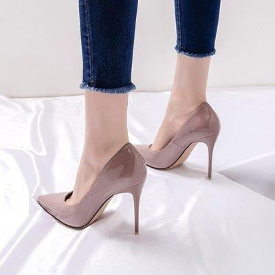 2019春季新款高跟鞋女細跟百搭尖頭裸色少女法式網紅學生春款單鞋