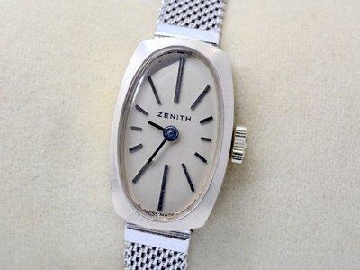 《寶萊精品》ZENITH 真力時銀灰白纖長18K女子錶