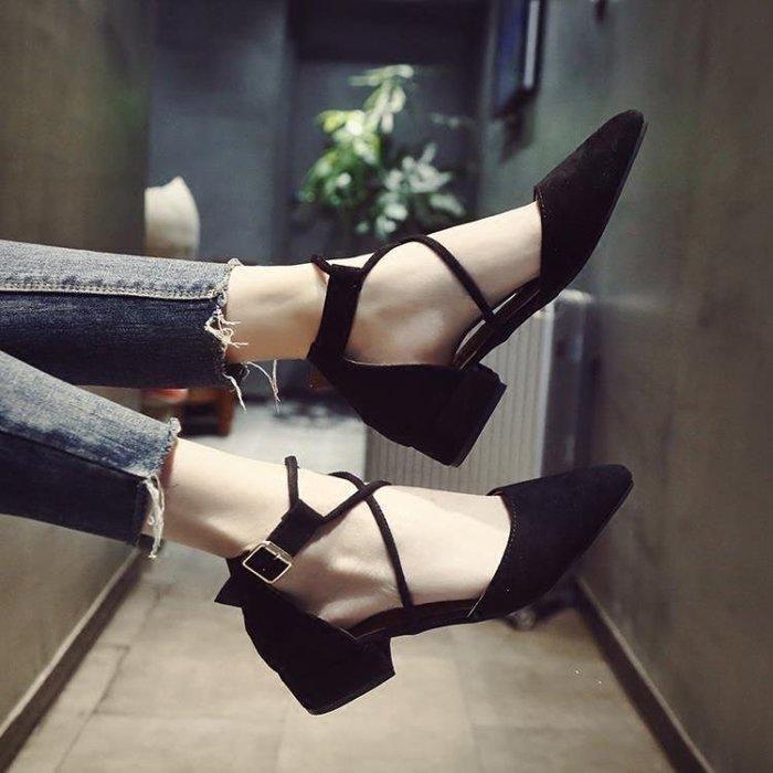 麥麥部落 女正韓低跟繫帶尖頭簡約式式平底鞋仙女包頭鞋子女MB9D8