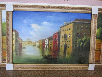 『府城畫廊-手繪油畫』歐風-威尼斯風景畫-筆法細膩獨特-72x102-(含框價,可換框)-有實體店面-請查看關於我聯繫-