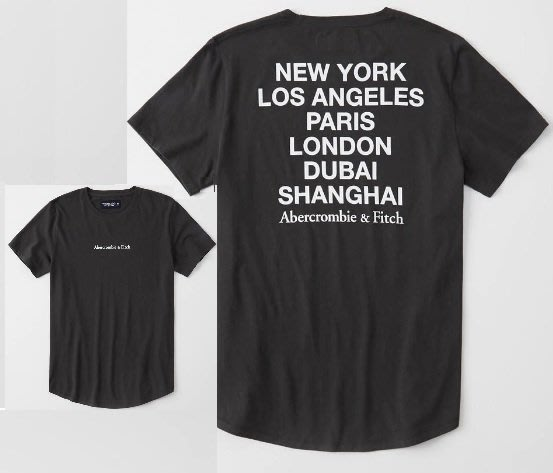 Abercrombie & Fitch A&F 麋鹿 現貨 短袖 黑色 前後印花logo