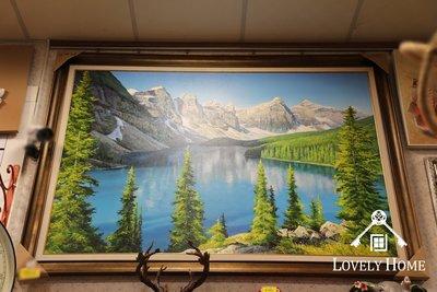 (台中 可愛小舖)歐式華麗舒適風格-手繪綠意盎然美麗山水圖畫搶眼畫漸層美掛飾壁飾餐廳擺飾店面擺飾咖啡店擺飾