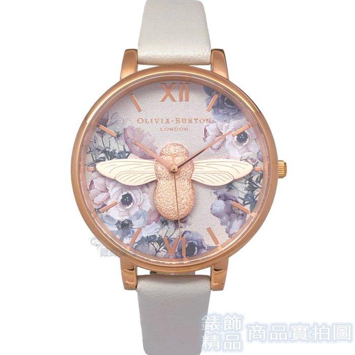 OLIVIA BURTON OB16PP41 絢麗多姿3D蜜蜂花園 玫金框淺灰色皮帶38mm【錶飾精品】