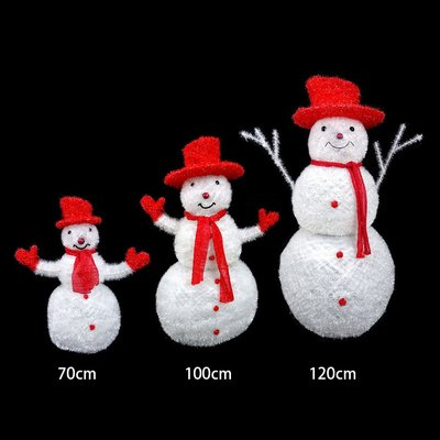 LED聖誕雪人佈置藝術裝飾 3款附藍色LED燈PV雪人(70CM)