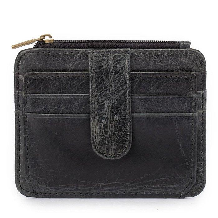 [包妳喜歡]真皮男士真皮美金夾拉鏈零錢包卡包頭層瘋馬皮錢夾013