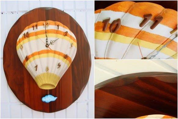 ~蘇菲亞精品傢飾~原木立體熱氣球夢想起飛橢圓掛鐘/大降價