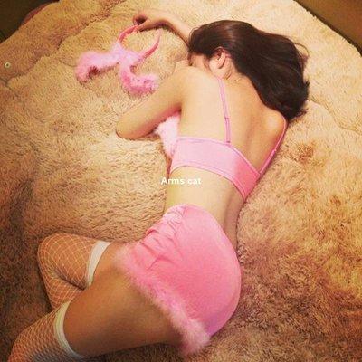 【Arms cat】獨享曖昧 毛茸茸性感粉色比基尼兔女郎套裝