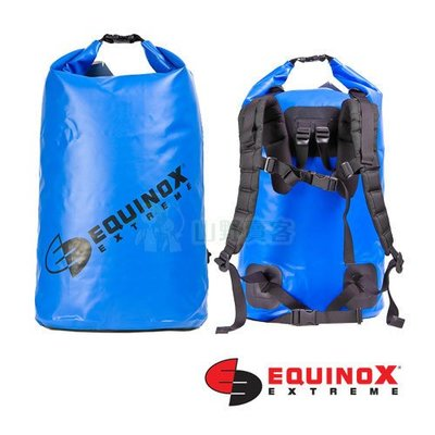 【山野賣客】Equinox 50公升(後背式) 藍色 100% 防水袋 泛舟 浮潛 溯溪 衝浪 海釣 釣魚 46063