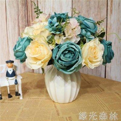 哆啦本鋪 仿真花 仿真花桌面花臺面花餐廳擺設玫瑰花帶陶瓷花器花盆整體花藝 D655