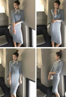 [ ohya梨花 ] =韓國帶回=最新春夏甜美名媛空姐穿搭黑色/白色/藍色針織附絲巾造型連身裙小洋裝