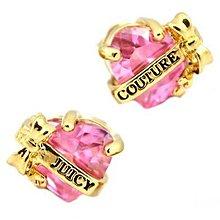 【OhOh】Juicy Couture 粉水晶愛心金色耳環 現貨 飾品 配件
