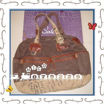 ☆nico小筑☆bauhaus專櫃-tough/salad咖啡色帆布側背包