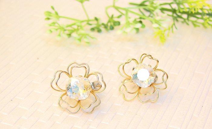 訂製款~驚艷白彩花朵 施華洛世奇花式石水晶 貼耳夾式耳環˙Jill&Joe獨家盤線18Kgf設計款