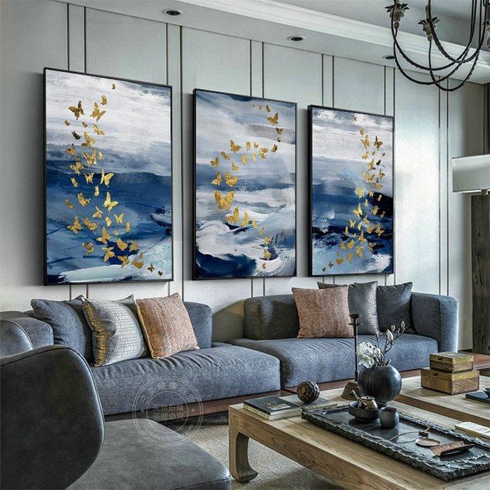 新中式水墨抽象金色蝴蝶三聯裝飾畫酒店樣板房壁畫玄關客廳掛畫(3款可選)
