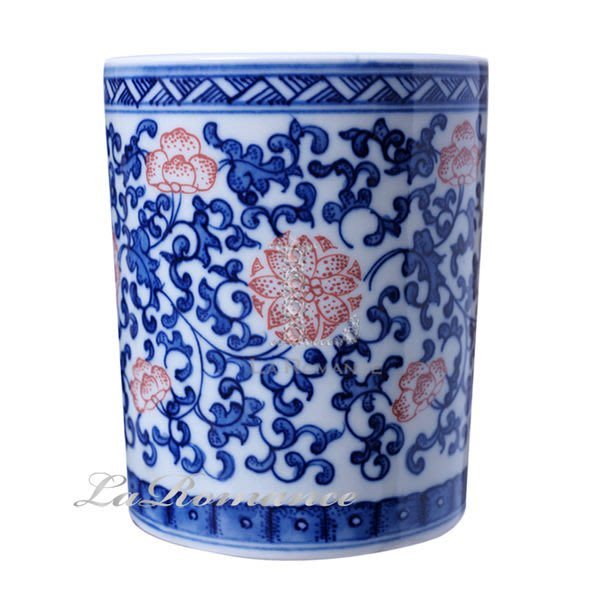 【芮洛蔓 La Romance】正宗景德鎮青花瓷之青花釉里紅 - 筆筒 / 文具 / 筷子筒 / 置物桶