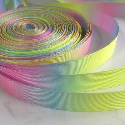 33手作 DIY材料 雙面彩虹羅紋緞帶 絲帶 織帶 25mm 38mm