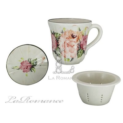 【芮洛蔓 La Romance】義大利 Ceramiche Fabbro 手繪粉玫瑰濾茶杯盤組 / 手繪茶具 / 下午茶盤