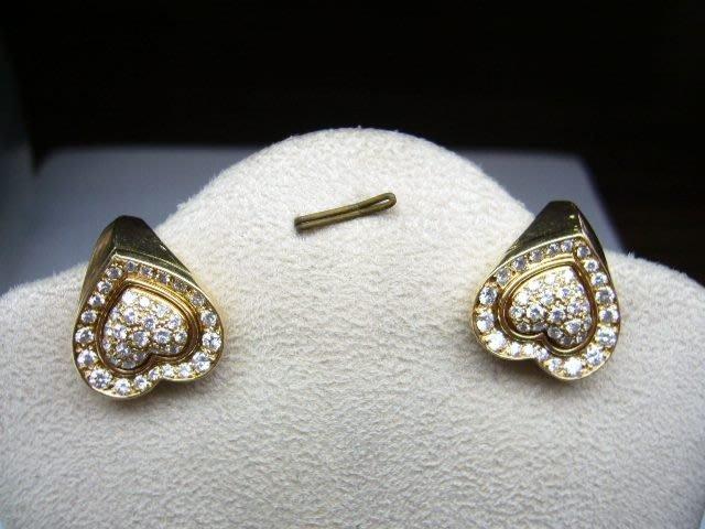 [吉宏精品交流中心]CARTIER 卡地亞 心形造型 18黃K金 原鑲鑽石 耳環(一對)(真品)