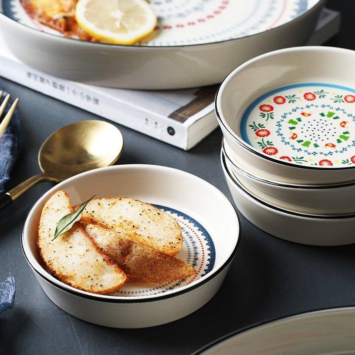 陶瓷盤子 民族風萬花陶瓷碟子醬油醋調味碟小烤碗甜品點心(一入) _☆找好物FINDGOODS ☆