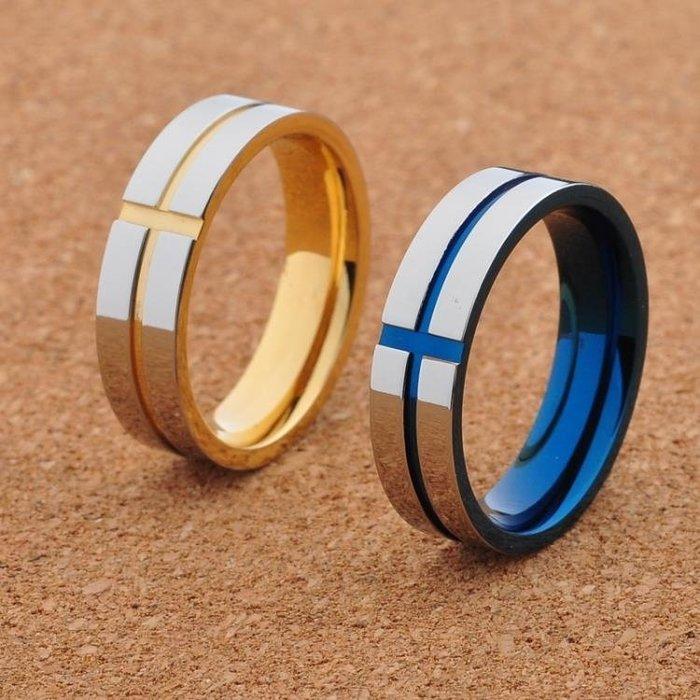 藍金色鈦鋼男士戒指飾品潮男單身個性日正韓霸氣尾戒子食指環刻字