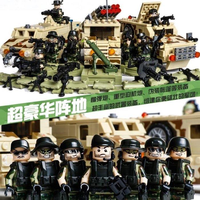 積木5軍事系列兒童益智8玩具男孩子10人仔6-12歲汽車