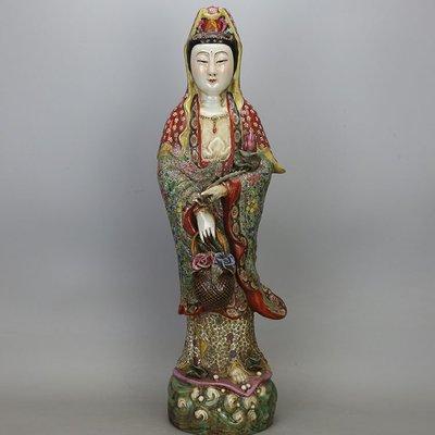 ㊣姥姥的寶藏㊣民國雕塑大師曾龍升粉彩提花籃觀音雕塑瓷 古董民間收藏