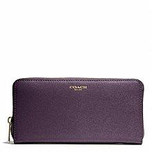 Coco小舖COACH 49355 SAFFIANO LEATHER ACCORDION ZIP WALLET 紫色