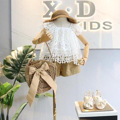 有家服飾品牌童裝2019夏新品女童韓系甜美滾邊全版鏤空花邊短款娃娃衫短褲