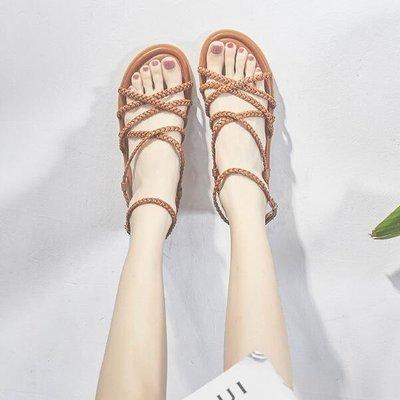 羅馬涼鞋 綁帶涼鞋 海邊度假平底波西米亞沙灘鞋 懶人鞋—莎芭