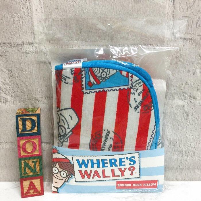 【Dona日貨】日本正版 Where's Wally? 威利在哪裡? 環遊世界 充氣頸枕/枕頭(出國旅行好幫手) C14