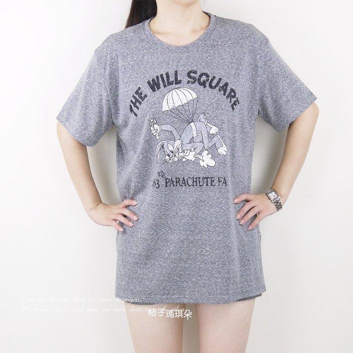 正韓 兔寶寶圖案 短袖長版棉T 拓印風(鐵灰、粉色) ~惠衣