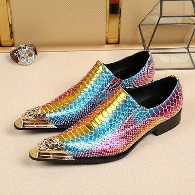 個性時裝男皮鞋 韓版英倫尖頭男皮鞋鐵頭真皮牛皮夏季透氣套腳花色發型師結婚鞋子