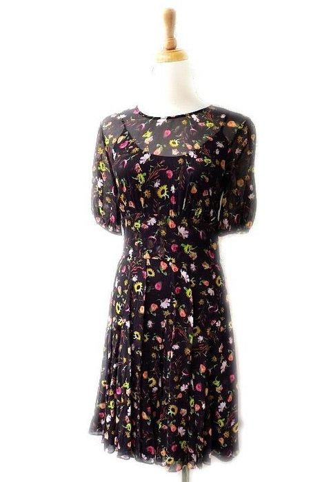 *Beauty*MOSCHINO黑底花雪紡短袖洋裝 I38號 WE17 售7990元 加圖