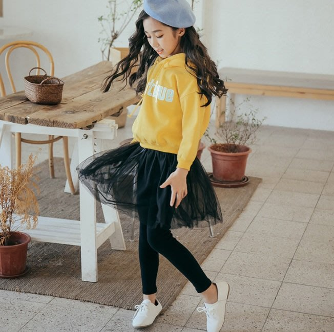 小圖藤童裝~~~中大童~~女童春秋套装2019新款中大童秋季裙褲套裝(A444)