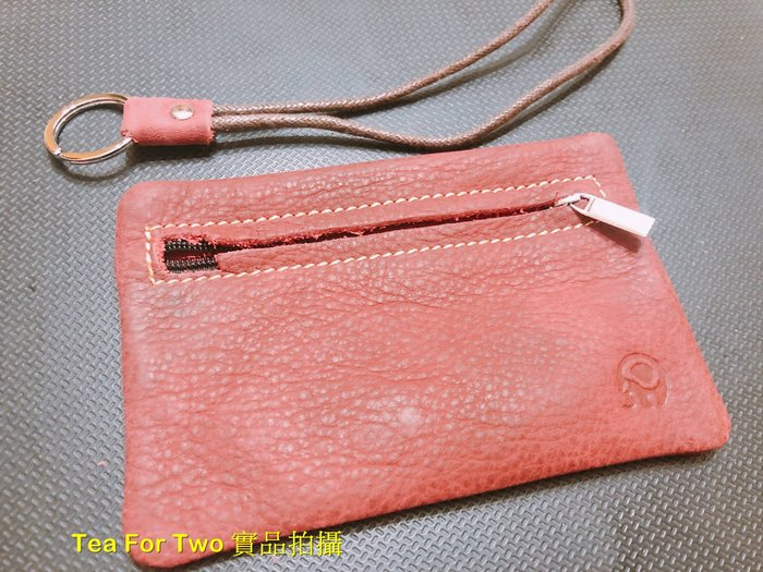 泰國正品(現貨tp) - 小象真牛皮鑰匙零錢包 -暗紅色