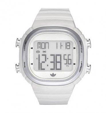 【adidas - ADH 2120】全新正品 輕量化 運動型 電子錶 名錶 手錶 / 白色【防水50米】輕微瑕疵
