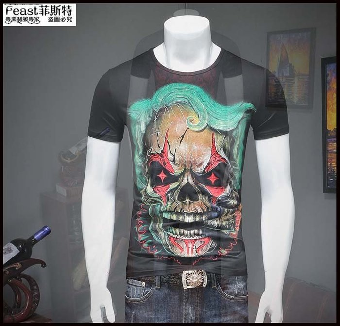 【Feast-菲斯特】-男士短袖T恤 新款夏季 時尚潮流修身印花潮牌拼接半袖T38231