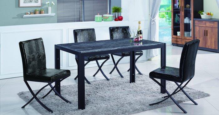 【南洋風休閒傢俱】餐桌椅組-羅禮士4.6尺黑色水波岩餐桌黑色漢白玉餐桌威爾士鱷皮餐椅JF455-1-2 481-11