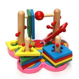 益智早教~原木蝴蝶套柱積木~3D立體空間幾何形狀配對~四柱連套動動腦玩具~◎童心玩具1館◎