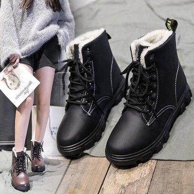 雪地靴 馬丁靴女英倫風學生 百搭保暖棉鞋短筒加絨雪地靴