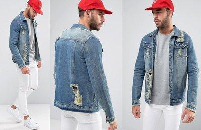 ◎美國代買◎ASOS代買抽鬚袖口有蓋口袋裝飾刷破仿舊頹廢風復古牛仔刷破夾克外套~歐美街風~有大尺碼