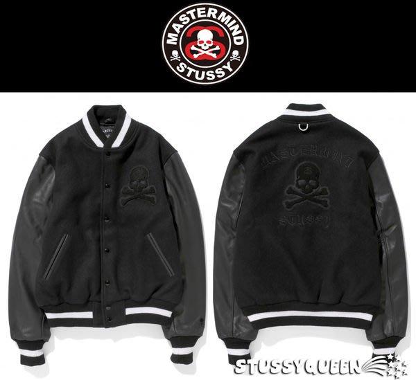 【 現貨 】全新正品 2013 STUSSY x Mastermind JAPAN Skull Varsity Jacket  MMJ 骷髏 正牛皮袖 棒球外套