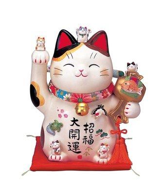 薬師窯(Yakushigama) 日本正版 彩絵招福大開運招き猫(ちりめん首輪付・7.5号) AM-Y7454